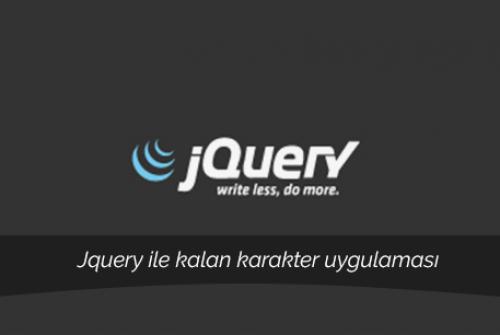 JQuery kalan karakter uygulaması